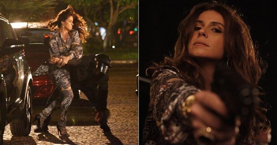 """5.fev.2013 Em """"Salve Jorge"""", a delegada Helô (Giovanna Antonelli) rende o bandido que tenta matá-la e o obriga a confessar o nome do mandante do assassinato"""
