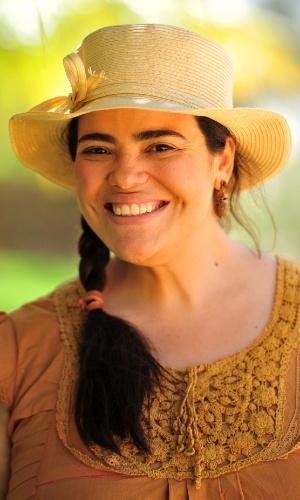19.fev.2013 - Dadá (Renata Roberta) é irmã de Candinho (José Loreto). Ela vive em Vila dos Ventos, é doida para se casar e acredita que a cabra de seu irmão pode falar e tem sentimentos