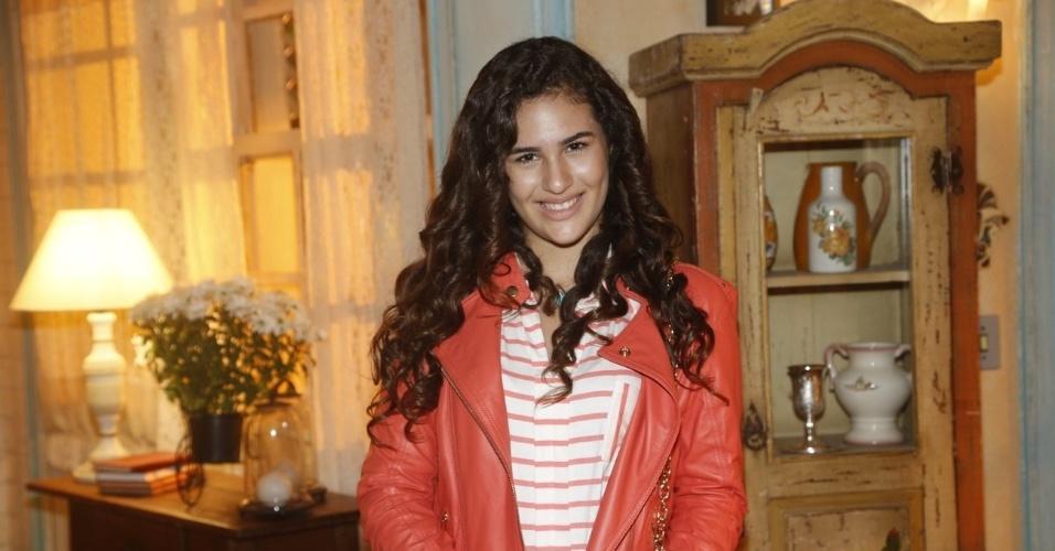 """19.fev.2013 - Lívian Aragão participou da apresentação da novela """"Flor do Caribe"""" no Projac, complexo de estúdios da Globo localizado na zona oeste do Rio"""