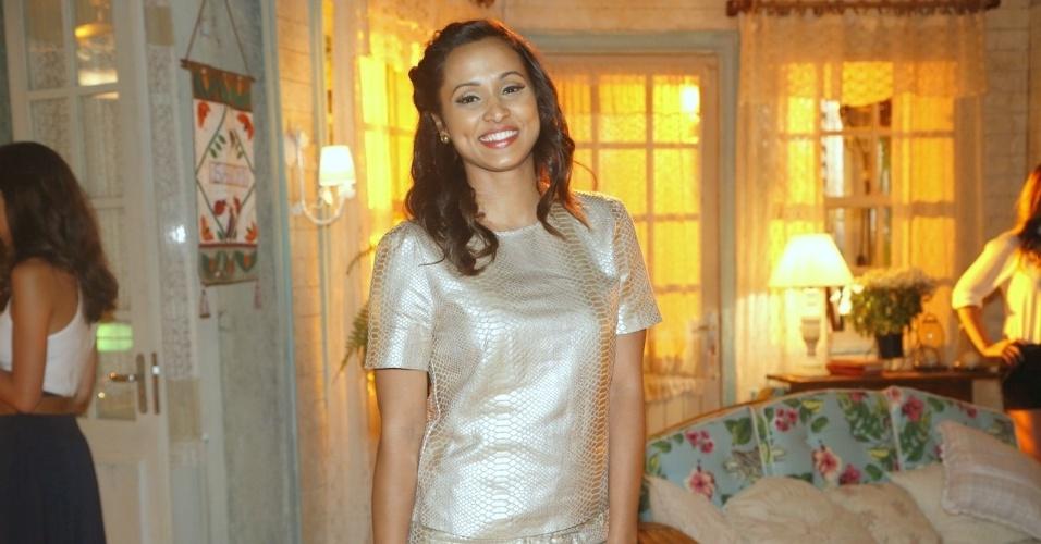 """19.fev.2013 - Thaíssa Carvalho participou da apresentação da novela """"Flor do Caribe"""" no Projac, complexo de estúdios da Globo localizado na zona oeste do Rio"""