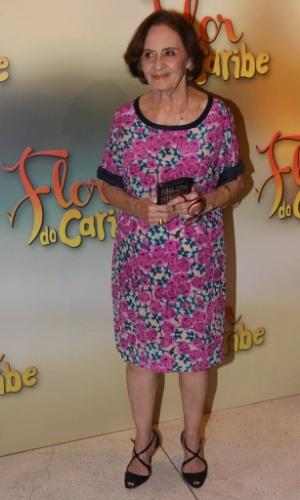 """23.fev.2013 - Laura Cardoso na festa de lançamento de """"Flor do Caribe"""", em São Paulo. O folhetim, dirigido por Jayme Monjardim, estreia na Globo, às 18h, no dia 11 de março"""