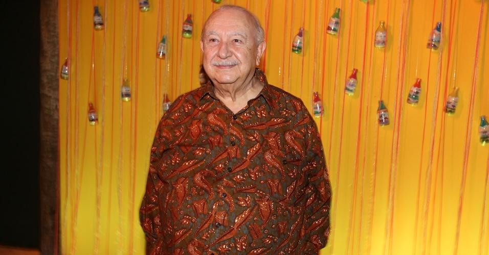 """23.fev.2013 - Sergio Mamberti na festa de lançamento de """"Flor do Caribe"""", nova novela das seis da Rede Globo"""