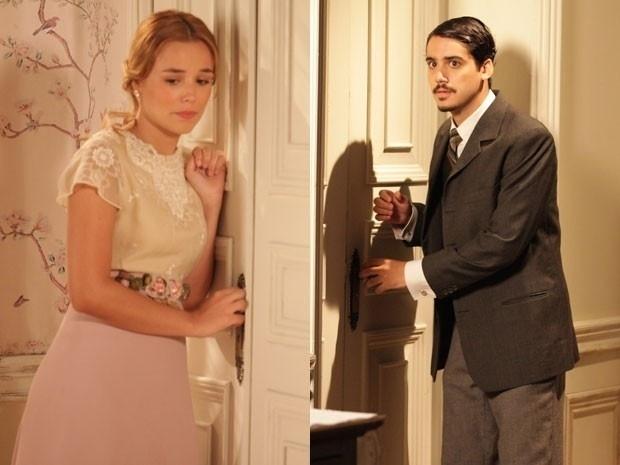 """4.mar.2013 - Em """"Lado a Lado"""", Jonas invade a casa de Carlota e pede Alice em casamento"""