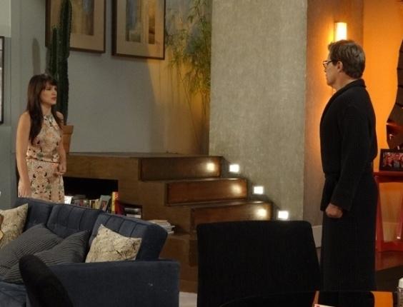 """6.mar.2013 - Em """"Guerra dos Sexos"""", em mais um golpe baixo, Carolina diz a Felipe que está grávida dele"""
