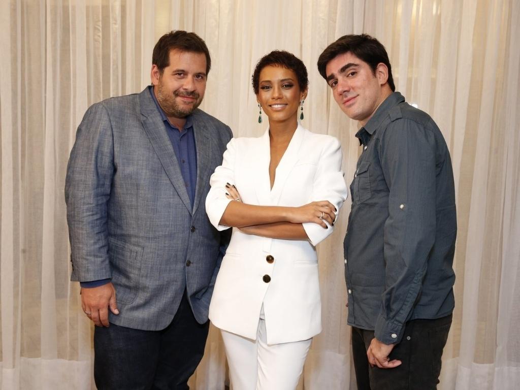 18.mar.2013 Leandro Hassum, Taís Araújo e Marcelo Adnet na coletiva de lançamento do seriado