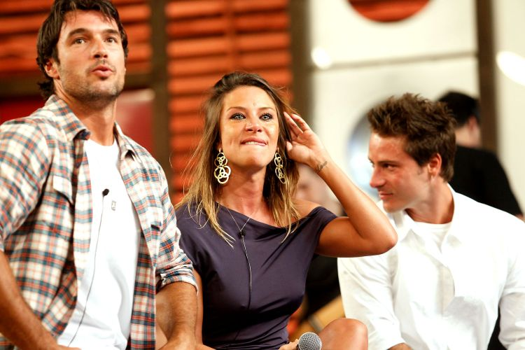 Daniel Bueno, Lizzi Benites e Sergio Abreu na final de