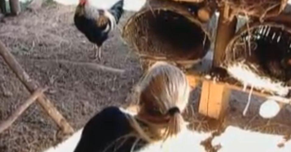 Monique faz visita ao galinheiro (02/9/11)