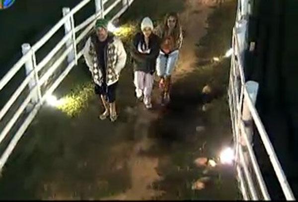 Gui Pádua, Taciane Ribeiro e Renata Banhara deixam a casa da Roça para interagir com os demais peões (26/7/11)