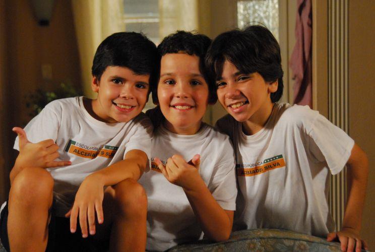 Huguinho (Yago Machado), Zezinho (João Victor Granja) e Luizinho (João Fernandes)