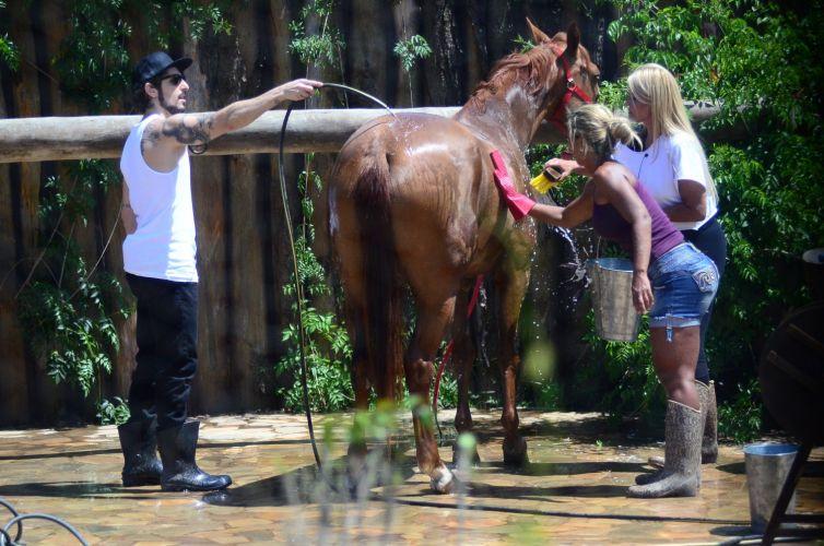 Valesca, Monique e Mion dão banho na égua (05/10/11)