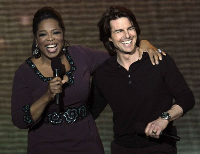 Oprah Winfrey e Tom Cruise se divertem na gravação do último