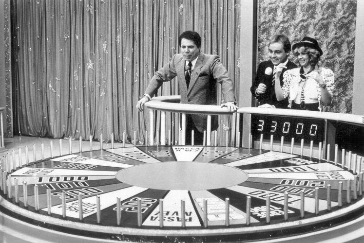 Silvio Santos, Gugu Liberato e Maria Ornellas durante a gravação do