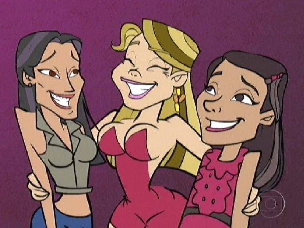 Charge da Fabiana (ao centro) com Kelly (esq.) e Jakeline (dir.) (24/1/12)