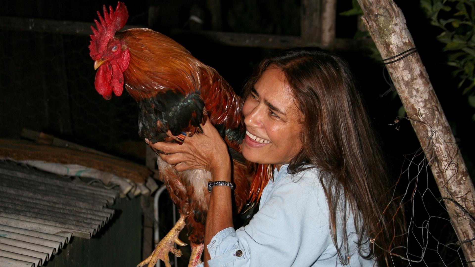 Dona Edilene Sena Leal, mãe de Jakeline, mostra o famoso galo Fabiano, na residência da ex-BBB, em Feira de Santana (25/1/12)