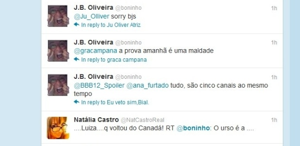 Boninho diz em seu Twitter que prova da comida será maldade (4/2/12)