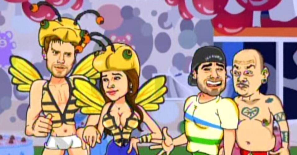 Animação mostra Laisa com Jonas e Yuri falando para João Carvalho que está apenas jogando (7/2/12)
