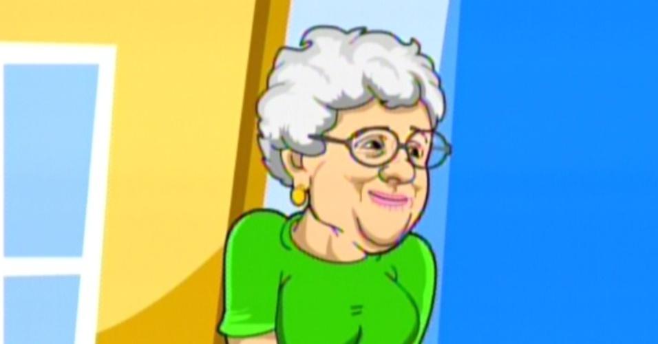 Na animação, a avó de Monique aparece com um vestido verde (14/2/12)