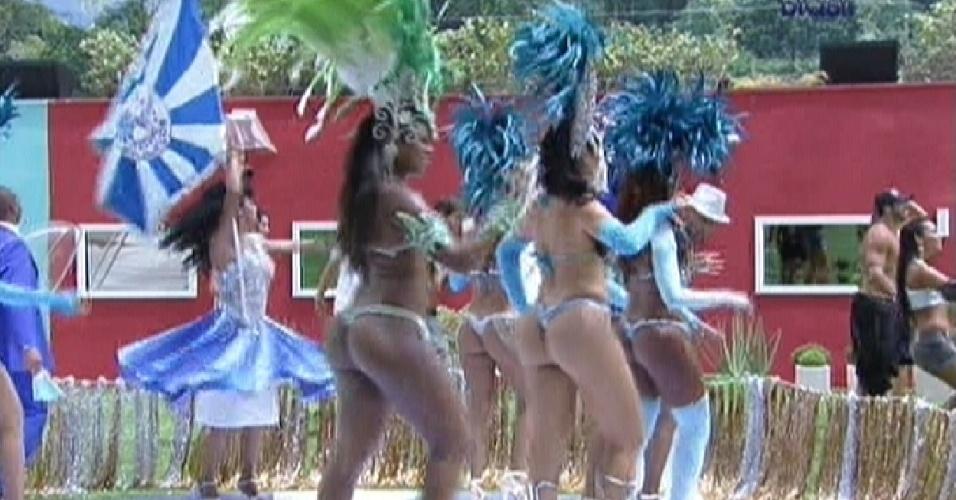 Passistas da Beija-Flor sambam para os brothers (17/2/12)
