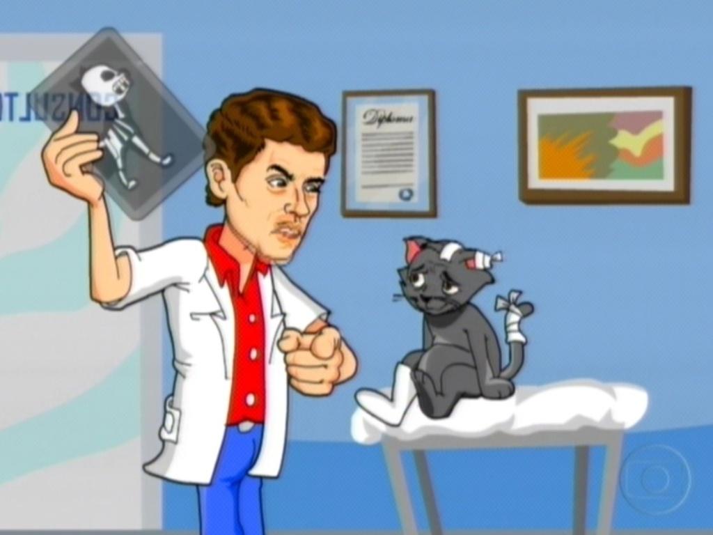 A charge da semana mostrou o veterinário Fael cuidando de seu gato (28/2/12)