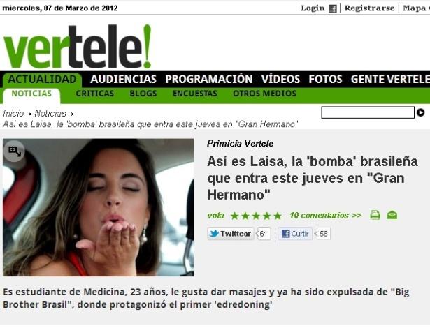 """Reprodução da matéria do site Vertele sobre a entrada de Laisa no """"Gran Hermano"""" espanhol (6/3/12)"""