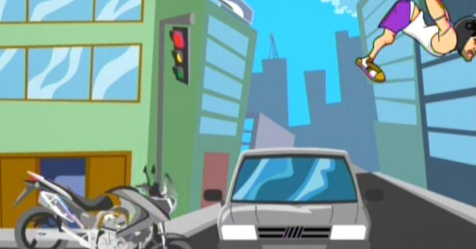 Sem ouvir as buzinas e olhar o faról vermelho, Yuri foi atropelado por um carro (7/3/12)