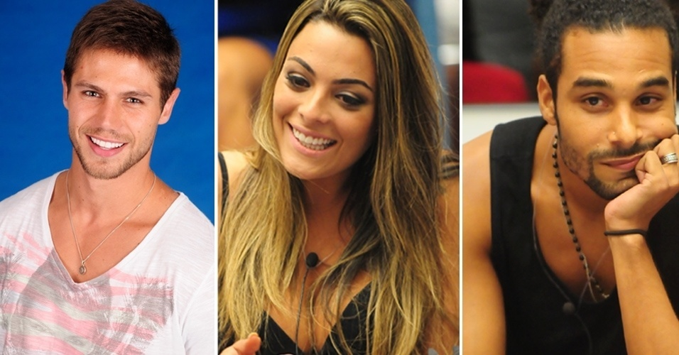 "Montagem com Jonas (esq.), Monique e Daniel, do ""BBB12"""
