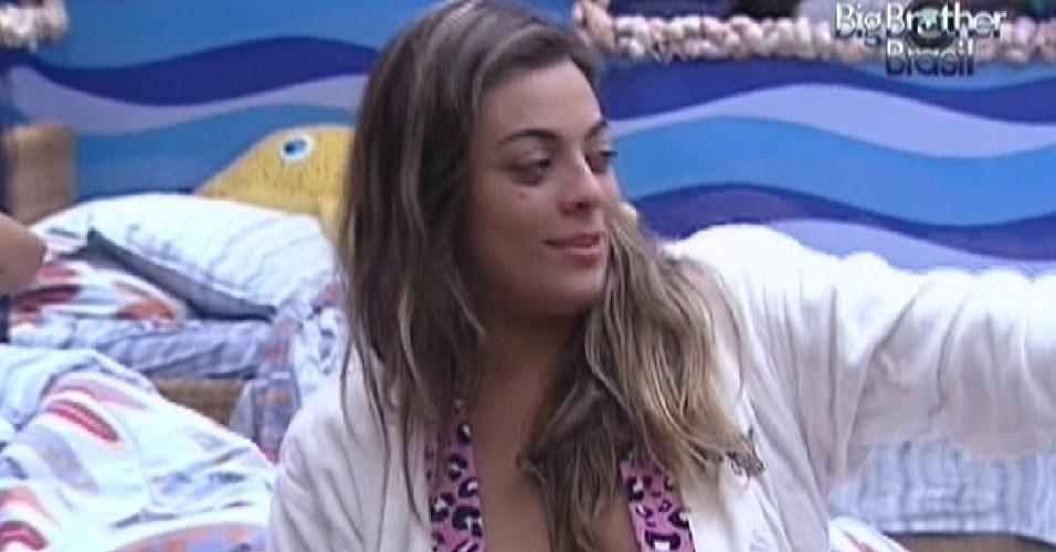 Monique se despede dos brothers do quarto Praia e vai dormir sozinha na Selva (17/3/12)