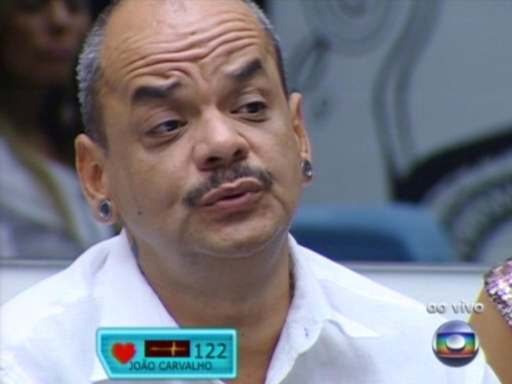 Questionado por Bial, João Carvalho disse que se arrepende de algumas brigas dentro da casa (18/3/12)