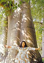 Regina Casé com um baobá em Moçambique
