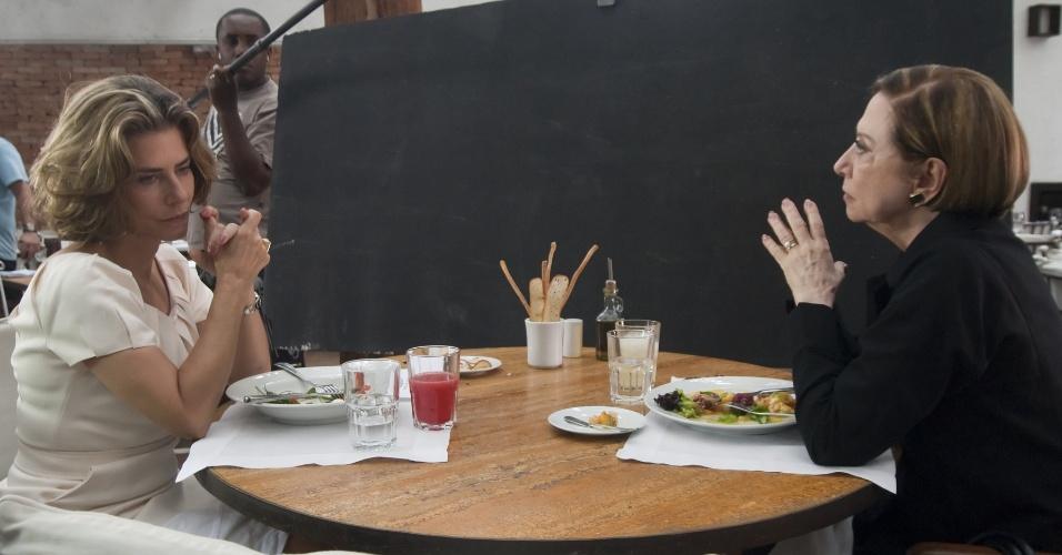 Maitê Proença e Fernanda Montenegro em uma gravação da novela