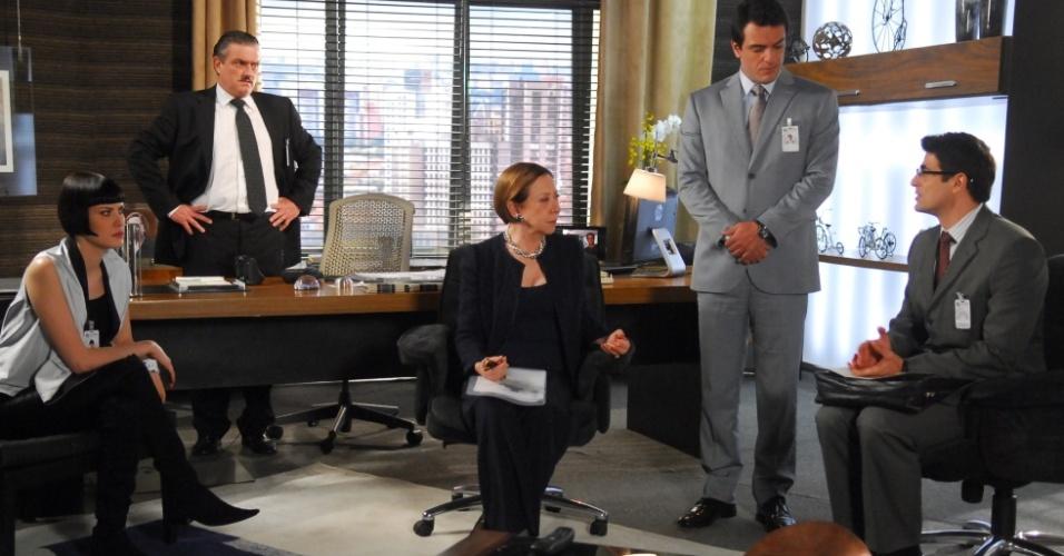 Bete (Fernanda Montenegro), Mauro (Rodrigo Lombardi) e Fred (Reynaldo Gianecchini) em gravação de