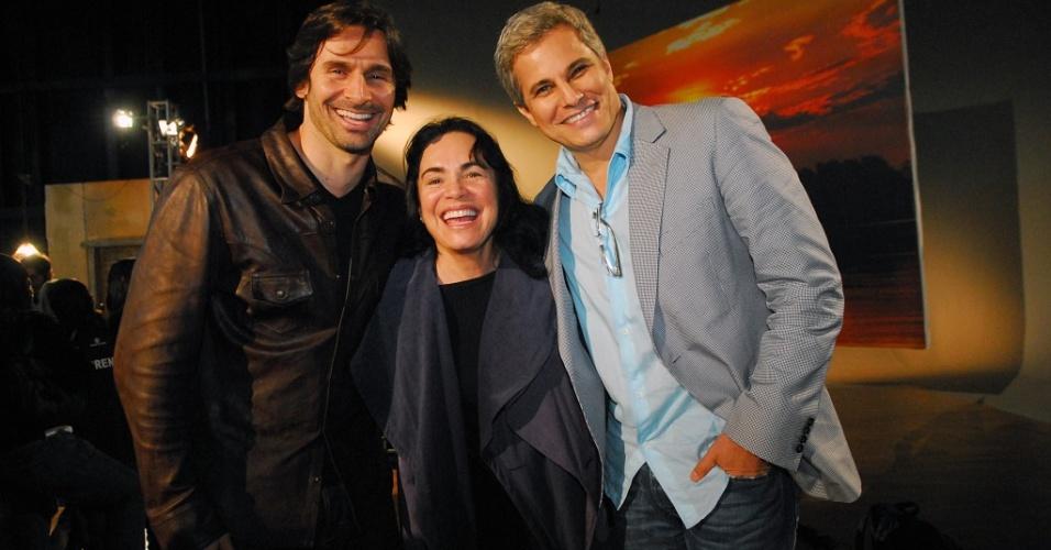 Murilo Rosa, Regina Duarte e Edson Celulari em workshop o Araguaia para a novela de Walther Negrão, na TV Globo