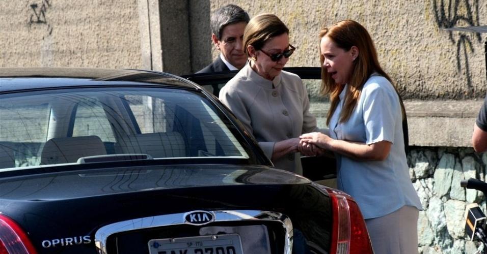 Fernanda Montenegro e Debora Duboc em gravação de