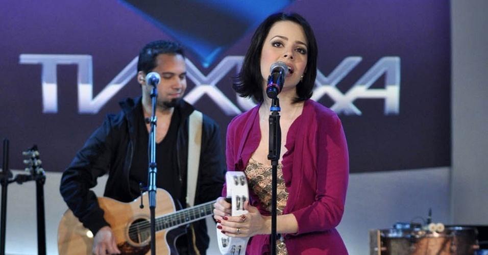 Sandy durante gravação do programa