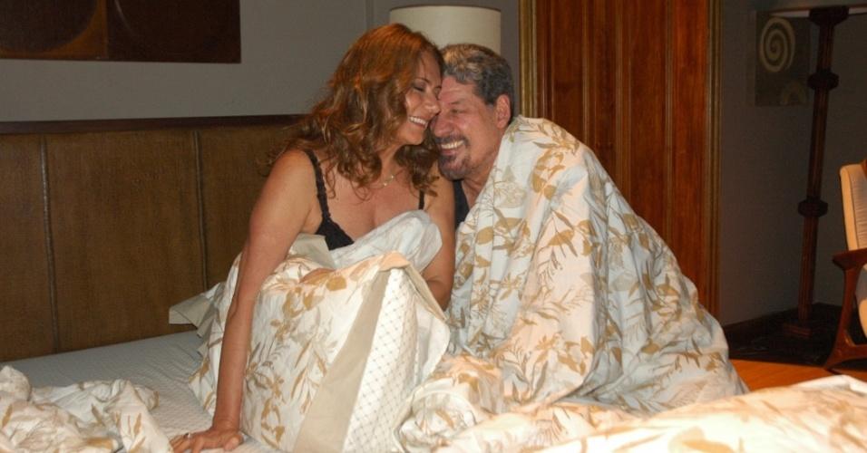 Patrycia Travassos e Antônio Grassi durante gravação de