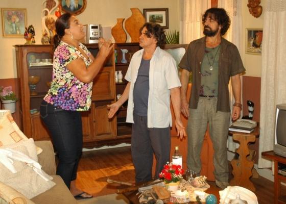 Da esquerda para a direita, Solange Couto, José Dumont e Taumaturgo Ferreita durante gravação de Ribeirão do Tempo (5/8/10)
