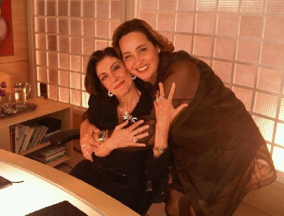 Marília Pêra e Claudia Jimenez durante gravação de