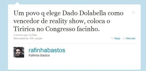 Rafinha Bastos compara eleição de Tiririca a prêmio de Dado Dolabela vencedor de