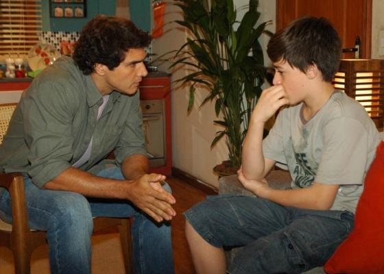 Rafael Calomeni e Kaleo Maciel dos Santos durante gravação de Ribeirão do Tempo