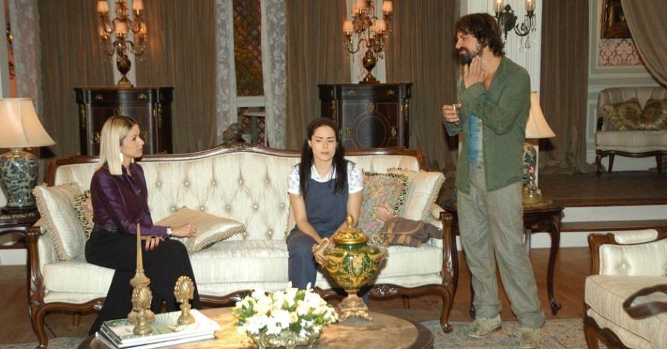 Bianca Rinaldi, Liliana Castro e Taumaturgo Ferreira durante gravação de