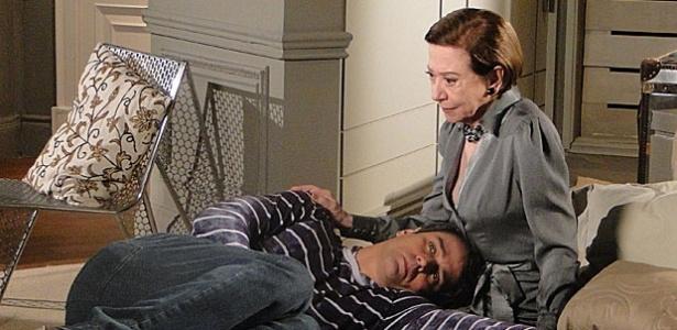 Marcello Antony e Fernanda Montenegro durante gravação de