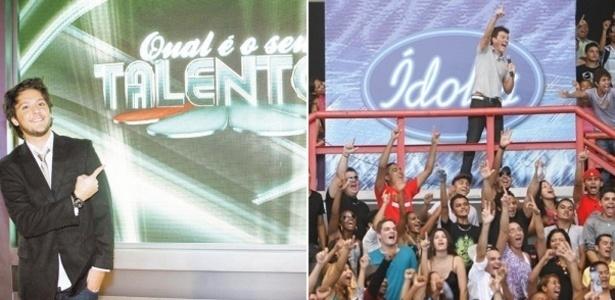 """André Vasco, apresentador do reality show """"Qual é o seu talento?"""", do SBT, e Rodrigo Faro na audição do """"Ídolos"""" em Fortaleza"""