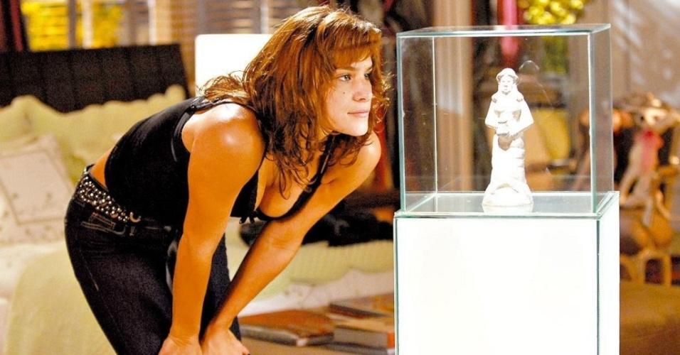 Priscila Fantin durante gravação da novela