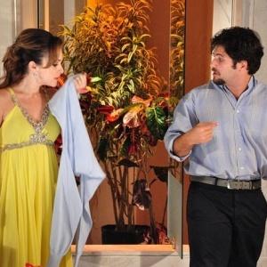 Gabriela Duarte e Bruno Gagliasso durante gravação de Passione