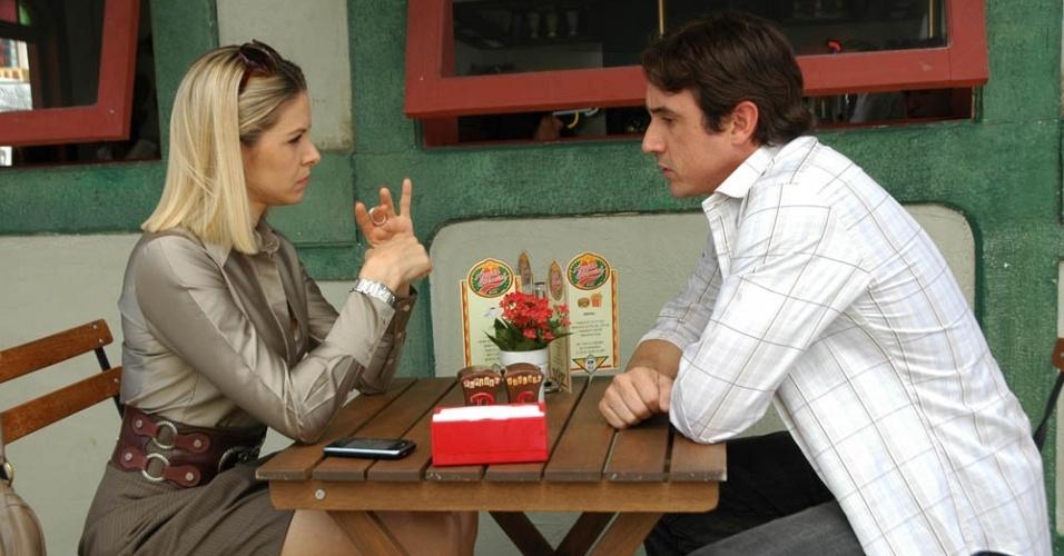 Bianca Rinaldi e Caio Junqueira durante gravação de
