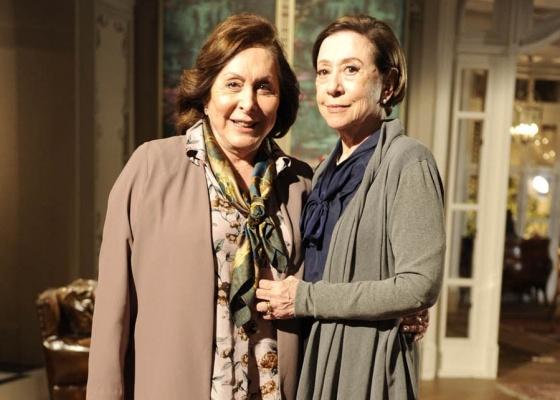 Aracy Balabanian e Fernanda Montenegro durante gravação de Passione (set/2010)