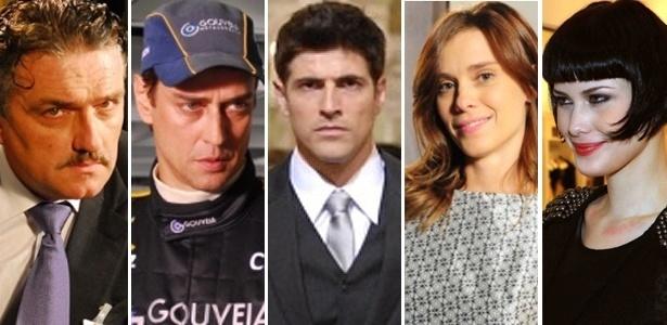 """Da esquerda para a direita: Werner Schünemann, Marcello Antony, Reynaldo Gianecchini, Carolina Dieckmann e Mayana Moura gravaram as mortes de seus personagens em """"Passione"""