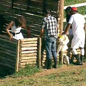 Peões ajudam Ana Carolina Dias com os porcos (5/11/10)