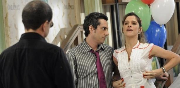 Alexandre Nero e Ingrid Guimarães na gravação de Batendo Ponto, da Globo