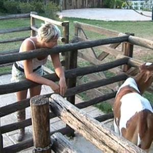Luiza em visita aos animais no final da tarde deste domingo(28/11/10)